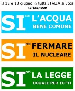 Referendum 12-13 Giugno..4 SI' PER LA DEMOCRAZIA!!