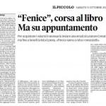 """Fenice, corsa al libro ma su appuntamento - """"Il Piccolo"""",  CRONACA - 5/10/2013"""