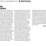 """L'utopia della privacy - Segnalazione de""""Il Piccolo"""" del 14-11-2013"""