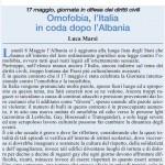"""Omofobia, Italia in coda dopo l'Albania - Articolo de""""L'Avanti della Domenica"""" di Domenica 09/06/2013"""