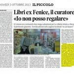 """Libri ex-Fenice, il curatore: """"Io non posso regalare"""" - """"Il Piccolo"""",  CRONACA -  03/10/2013"""